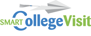 SmartCollegeVisit logo, the educated way to visit campus