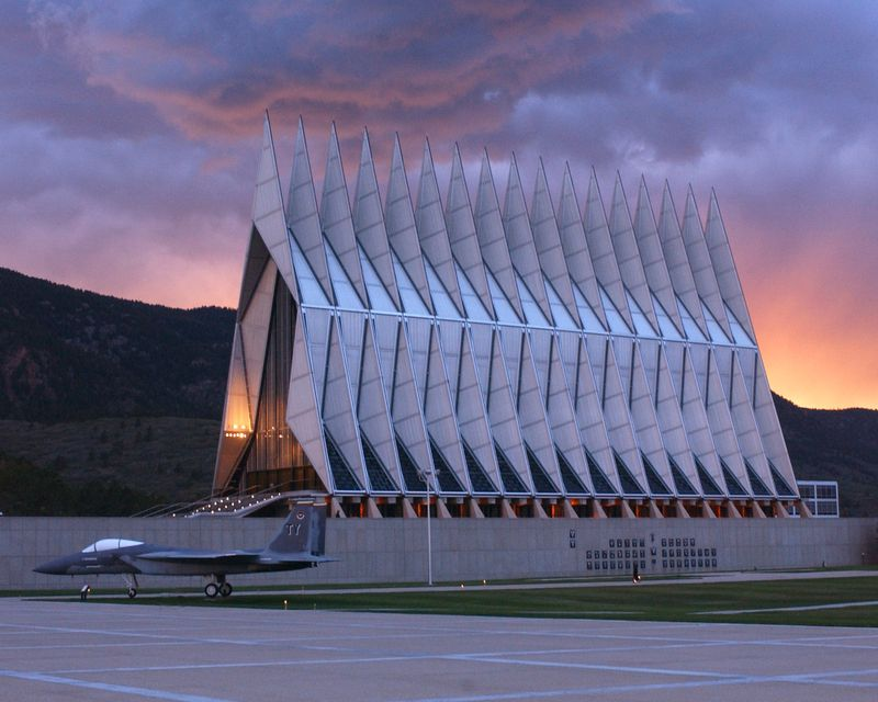 US Air Force Academy Chapel at Sunset