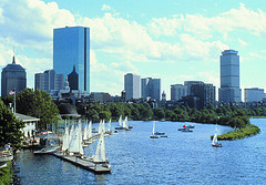 "Sailboats in Charles River Basin, Credit: ""Greater Boston Convention & Visitors Bureau."""